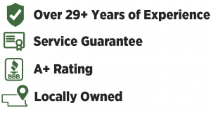 29+ experience, service guarantee, A+ rating, Locally Owned